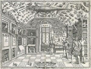 Engraving from the Dell'Historia Naturale (1599) showing Naples apothecary Ferrante Imperato's cabinet of curiosities, the first pictorial representation of such a collection