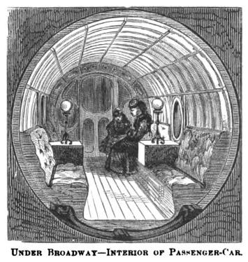 "Interior of the car - from ""Illustrated Description of the Broadway Pneumatic Railway"""