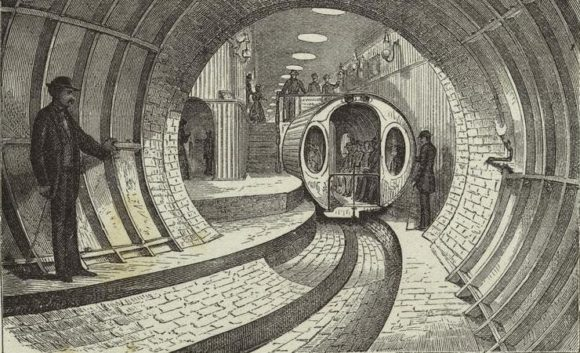 The Broadway Pneumatic Underground Railway - View of car in motion.